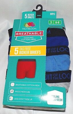 Fruit Of The Loom Boy Boxer Briefs 5 Pack Size S 6-8 Multi Colored