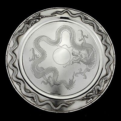 990 gr Antique Zee Wo Chinese Export Silver Tray / Dish / Salver. China Ca. 1900