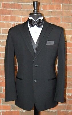 Mens 46 R Black Rio by Perry Ellis Tuxedo Jacket / Pants / Shirt / Bow Tie