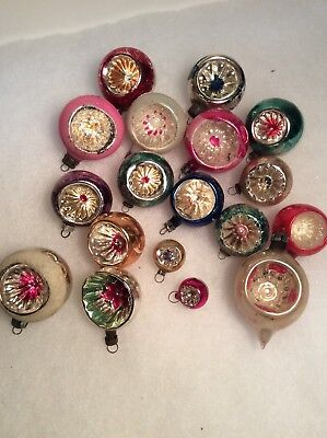 Vintage Glass Feather Tree Christmas Indent Ornaments Lot Of 18 Mica Hand Paints