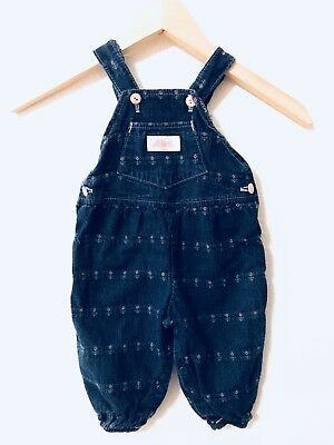 Vtg Liberty Denim Girl's Dark Wash Pants Overalls With Flowers Size 12 Months