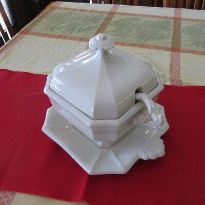 Vintage Red Cliff Ironstone White Soup Tureen Ladle & Underplate