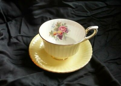 Paragon Fine China Yellow Teacup and Saucer- Fruit & Flowers