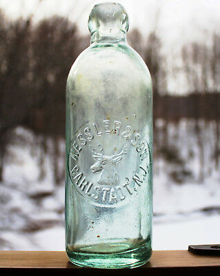 KESSLER & SON CARLSTADT, N.J. BPOE Elks Head Antique Fraternal Hutch Soda Bottle
