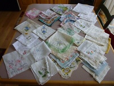 Lovely Assorted Vintage Lot Of 35 Hanky Hankie Handkerchief Cutter Crafter Lot