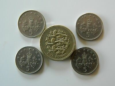 AN ENGLISH 2002  POUND COIN and 4X 5 PENCE COINS,all nice quality.