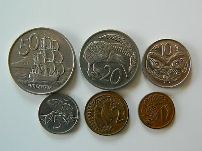 A SET OF NEW ZEALAND COINS.Mainly 1970's, nice cond.