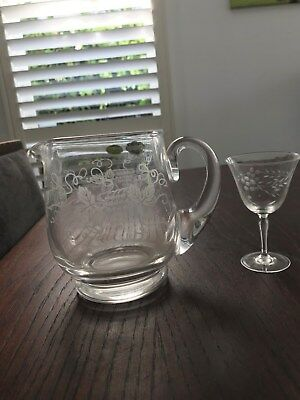 Stuart Crystal Jug with original labelling from 1955