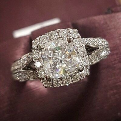 354a09428539c2 110 Cushion Cut Pave Engagement Ring GIA CERTIFIED APPRAISED