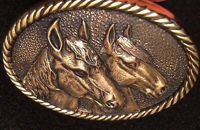 Vtg 1970s HEAVY SOLID BRASS Two  2 Horses Belt Buckle Equestrian Western Polo