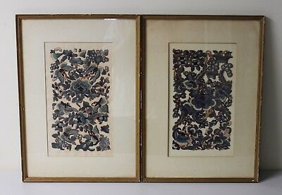 Pair Of Antique Chinese Silk Embroidery Panels With Frame