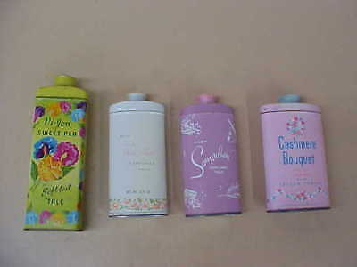 Lot Of 4 Vintage Talcum Powder Tins (2 Avon, Vi-Jon And Cashmere)  Nice !!!