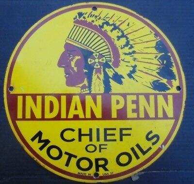 """Indian Penn Chief of Motor Oils porcelain plate sign garage """"Made In USA 37"""" can"""