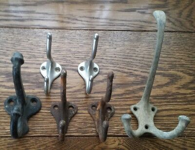 6 Genuine Vintage Cast Iron & Aluminum Coat Hat Rack Hooks