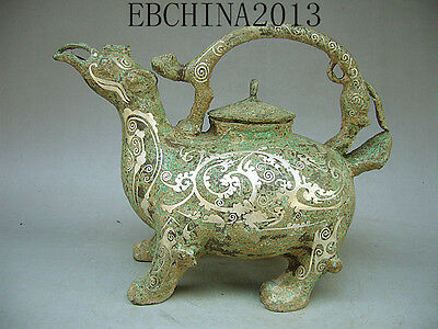 "11""Chinese antique collection bronze Silver plated portable strange bird teapot"