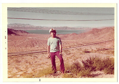 Vintage 70s PHOTO Young Asian Man In Desert Landscape w/ Lake