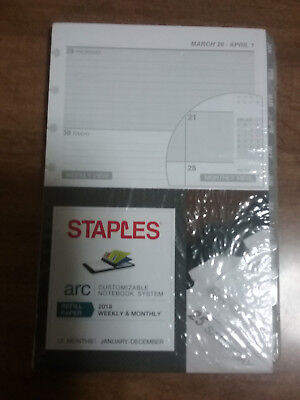 NEW Staples Arc Refill Paper 2018 Planner Calendar Notebook Weekly Monthly