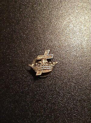 Vintage Knights Templar Masonic Collar Button, Lapel Button Crown & Cross
