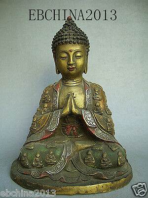 """9"""" Chinese culture old antique collection pure bronze Glaze the Buddha statue"""