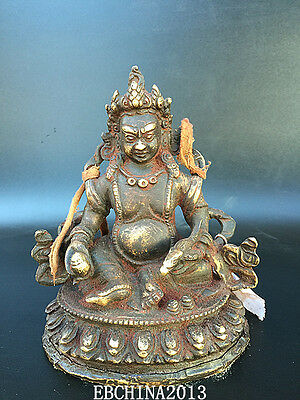 "6.4""Old Antique Chinese Ancient collection bronze Tibetan Buddhism dharma statue"