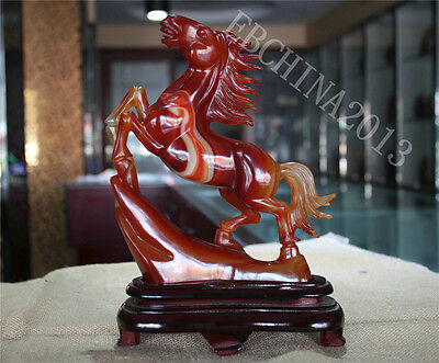 "10"" Chinese 100% Natural Agate Jade Jadeite Hand-carved Horse Success Sculpture"
