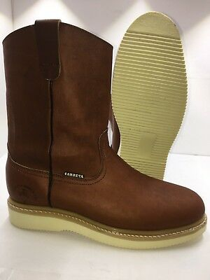 Men's Best Work Boots light W. Pull On Leather Brown oil slip resistant Sz 7-13
