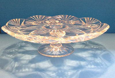 "Durand Crystal Footed Cake Plate Vincennes 13 1/2"" Round x 4"" Tall France"
