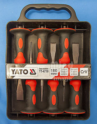 YATO High Quality 180mm Chisel and Punch Set  with Protective Flanges (6)