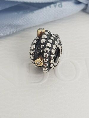 94e5479fd Authentic Pandora Entangled Beauty Two Tone Charm With Diamonds 790277D  Retired