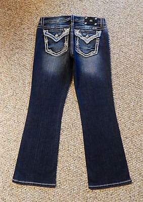 MISS ME Signature BOOT CUT Crystal FLAP POCKET Studded THICK Stitch JEANS 33 NEW