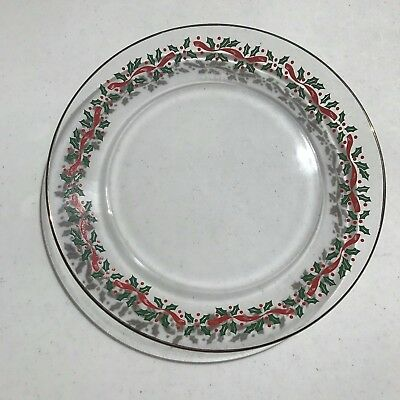 2 Vintage Arby's Libbey Glass Plates Gold Holly Berry Christmas Holiday 1980's