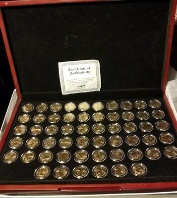 50 state quarter set, plus 6 US territories, 24KT gold (plated) cherry display.