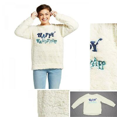 New Xhilaration Ladies Junior Fit Woobie Fuzzy Hanukkah Sweater White XL 07067