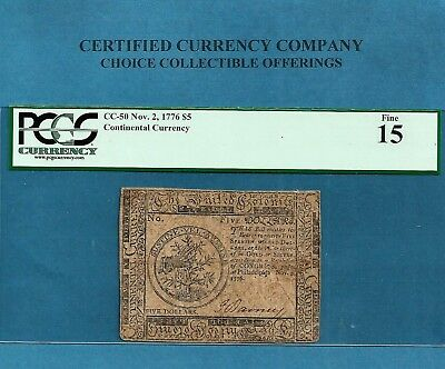 1776 $ 5 Continental Colonial Note CC-50 PCGS Fine15 Nice Collectible