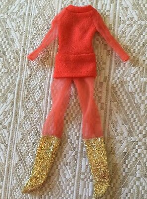 Vintage Live Action PJ Barbie #1156 1971 outfit orange all in one, VGC