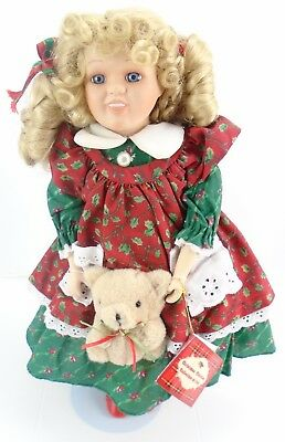 "ANCO Christmas Porcelain Doll 16"" With Stand 1995"