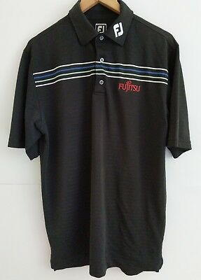 Footjoy Golf Shirt in Black Size Large Athletic Fit Poly/Spandex