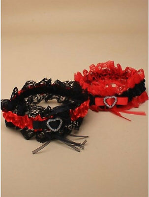 Black And Red Lace Garter With Red And Black Satin Ribbon Fancy Dress Parties