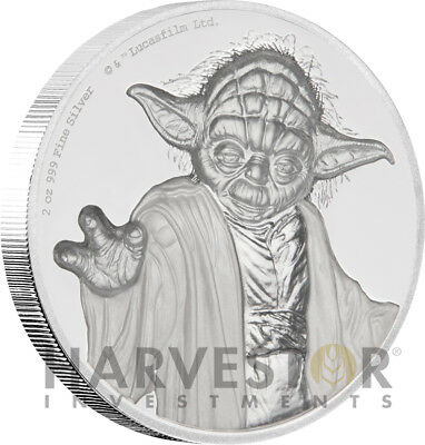 2018 Star Wars Yoda Ultra High Relief - 2 Oz. Silver Coin - Niue - With Ogpo Coa