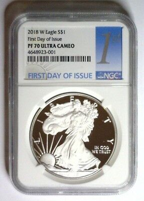 2018-W NGC PF70 PROOF Cameo Silver Eagle FIRST DAY of ISSUE Label PF 70 ~ LIVE ~