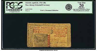New Jersey Colonial Currency April 23 1761 30 Shillings Fr. NJ-144 Eric Newman