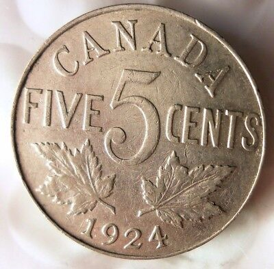 1924 CANADA 5 CENTS - Excellent Collectible - FREE SHIP - Canada Nickel Bin