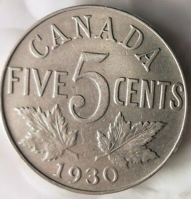 1930 CANADA 5 CENTS - Excellent Collectible - FREE SHIP - Canada Nickel Bin