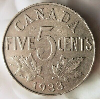 1933 CANADA 5 CENTS - Excellent Collectible - FREE SHIP - Canada Nickel Bin