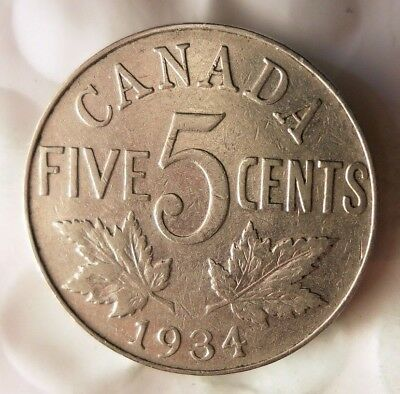 1934 CANADA 5 CENTS - Excellent Collectible - FREE SHIP - Canada Nickel Bin