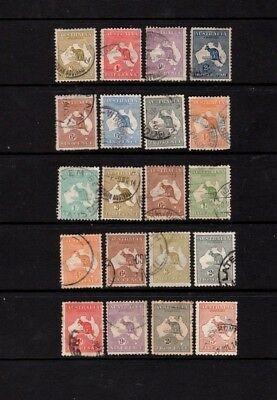 Aust Pre-Dec Stamps - 20 Used Kangaroos - Various Watermarks