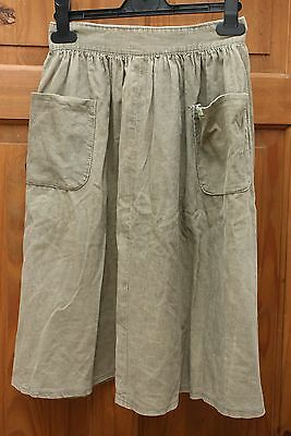 70's Vintage Retro Girls Wide Green Cord 3/4 Length Skirt 2 Pockets Western