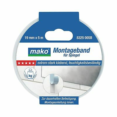 Mako NO-Holes for Mirror Mounting Tape Double Sided, 19 mm x 5 M, White