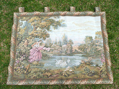 Beautiful~Large~Vintage~French~Belgium~Wall~Aubusson~Tapestry~101cm x 83cm