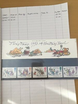 set of 5 christmas 1993 stamps illustrated by quentin blake